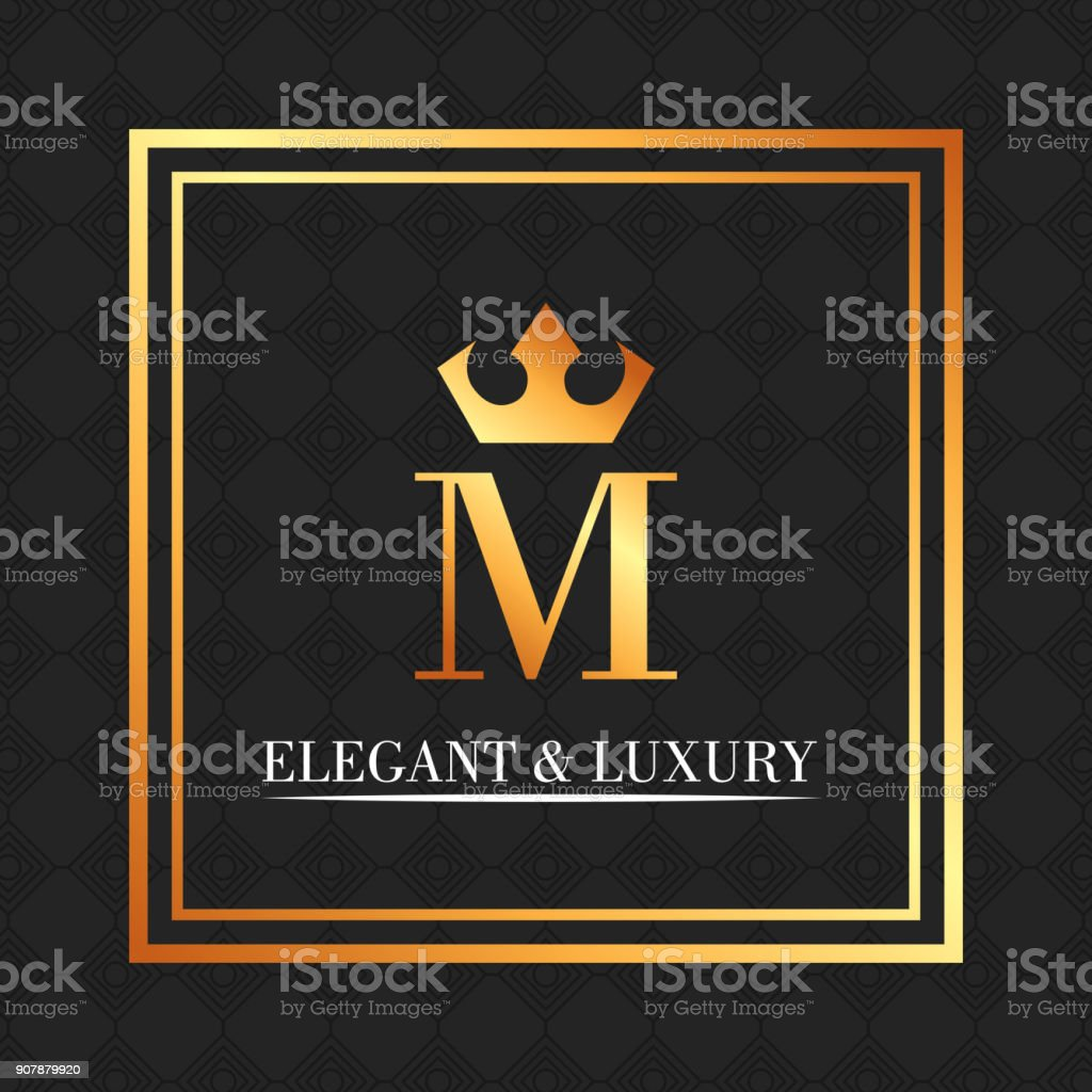 elegant and luxury monogram crown royal vector art illustration