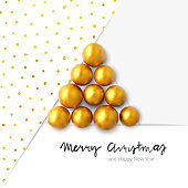 Ten self-molded round spheres made by plasticine painted by gold acrylic paint arranged in the shape of a triangular Christmas tree. Unique one of a kind Christmas card.  The background consists of three flat sheets stacked on each other at different angles. One has beautiful dotted pattern in gold. Under the entire composition is hand drawn text: MERRY CHRISTMAS. Vector illustration. New original design.