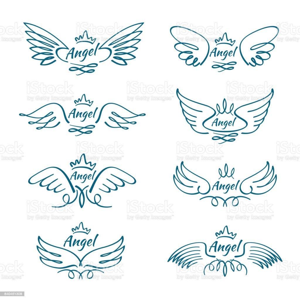 Elegante Engel Vliegende Vleugels Hand Getekend Vleugel
