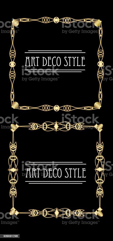 Elegant antiquarian golden square frames in art deco style, 3d illusion in filigree metalic ornament vector art illustration