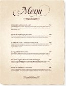 A vintage styled Menu template on aged paper. The texture is transparent and on its own layer so it's easy to remove. The body copy is Garamond if you'd like to insert your own text, but any old fashioned serif font will work with this style.