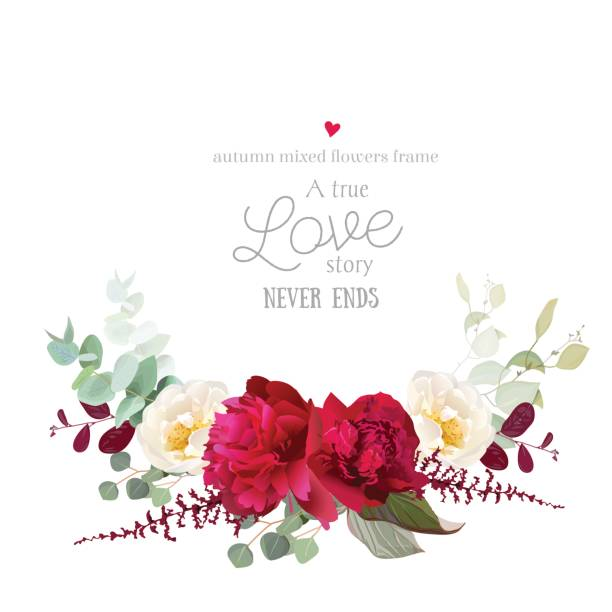 ilustraciones, imágenes clip art, dibujos animados e iconos de stock de elegante otoño horizontal bouquet floral vector diseño tarjeta de - moda de otoño