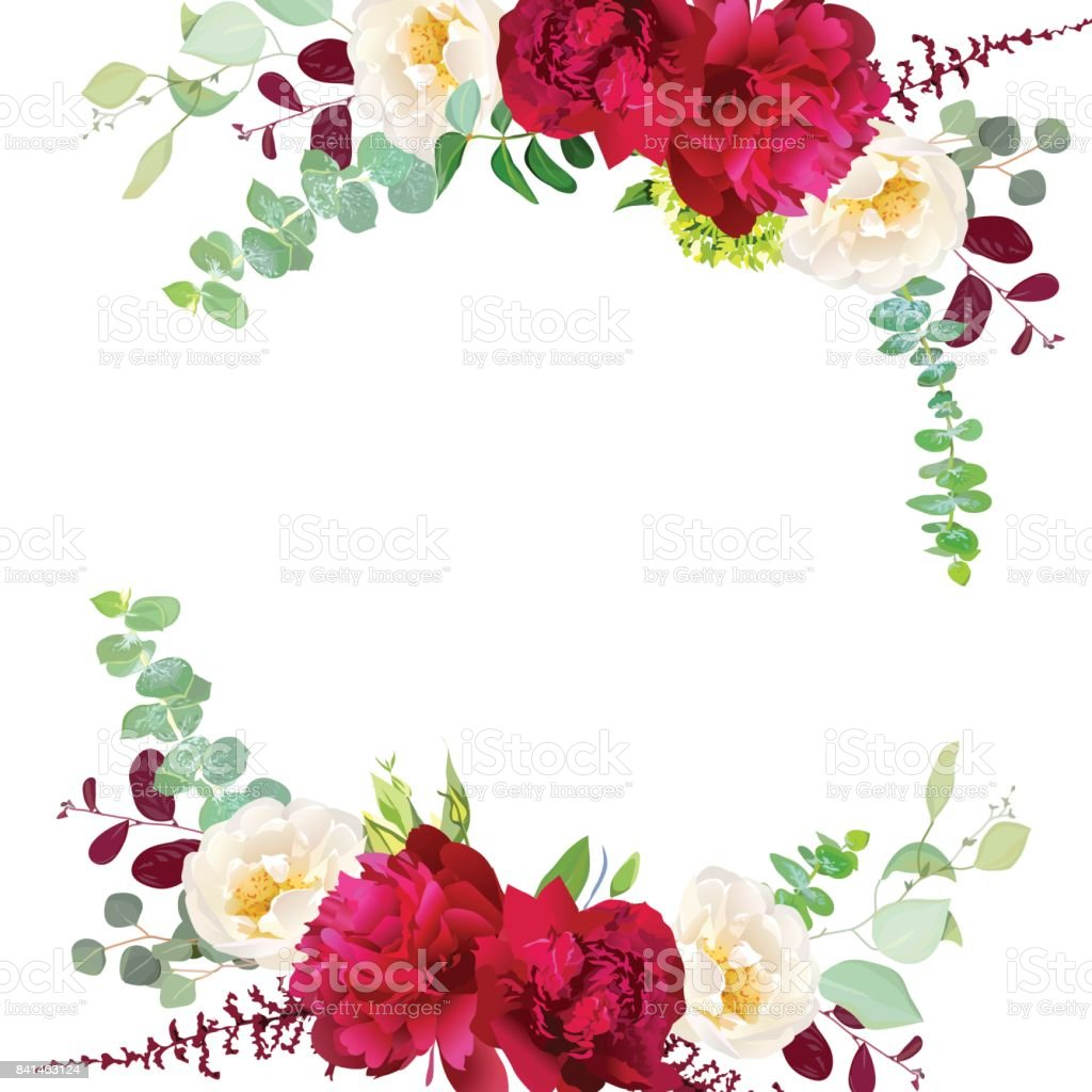 Elegant autumn round floral bouquet vector design frame