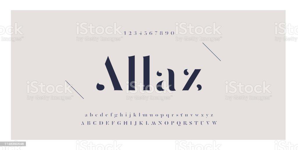Elegant awesome alfabetet bokstäver typsnitt och nummer. Klassiska bokstäver minimal Fashion Designs. Typografi teckensnitt vanliga versaler och gemener. vektor illustration - Royaltyfri Alfabet vektorgrafik
