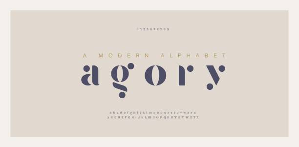 elegant awesome alphabet letters font and number. classic lettering minimal fashion designs. typography fonts regular uppercase and lowercase. vector illustration - алфавит stock illustrations