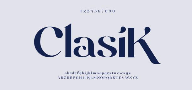 ilustraciones, imágenes clip art, dibujos animados e iconos de stock de elegante fuente de letras del alfabeto impresionante y número. diseños clásicos de moda minimalista de letras. typography fonts regular mayúsculas y minúsculas. ilustración vectorial - font