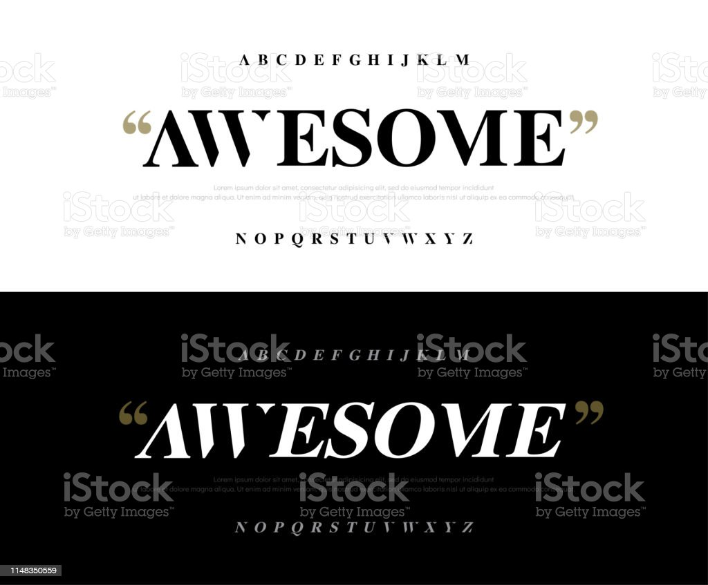 Elegant Awesome Alphabet Letters Font Set Classic Lettering