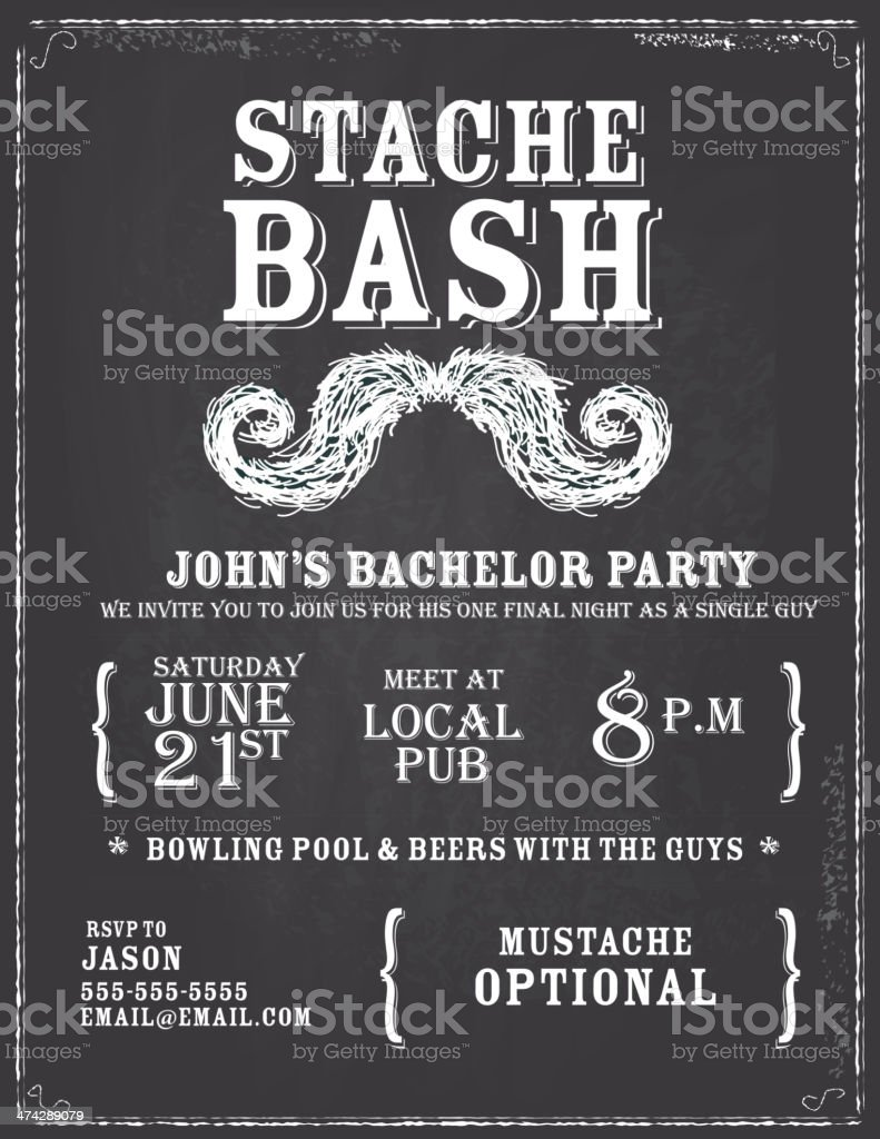 Elegant Bachelor Party Chalkboard Invitation Design Template Stock ...