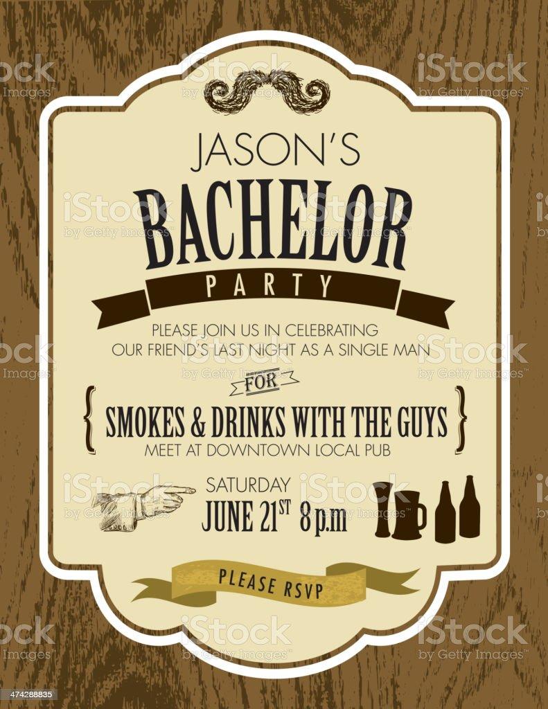 Elegant bachelor party invitation design template on oak wood background vector art illustration