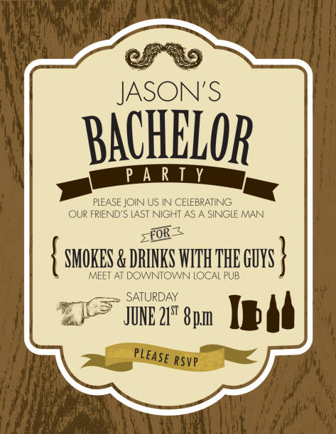 elegant bachelor party invitation design template on oak wood background - bachelor party stock illustrations, clip art, cartoons, & icons