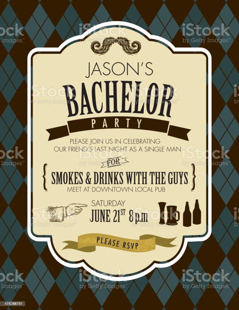 Elegant bachelor party invitation design template vector art illustration