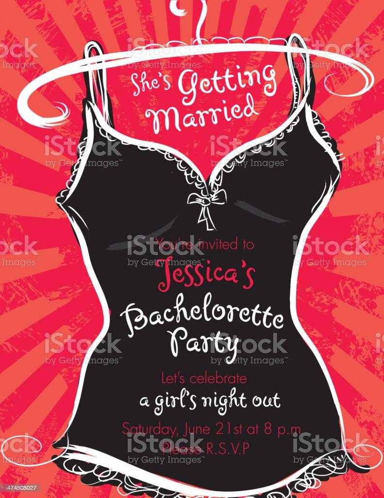 Elegant Bachelorette Party Invitation Design Template Red And Black ...