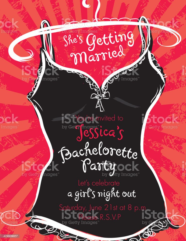 Elegant bachelorette party invitation design template red and black vector art illustration