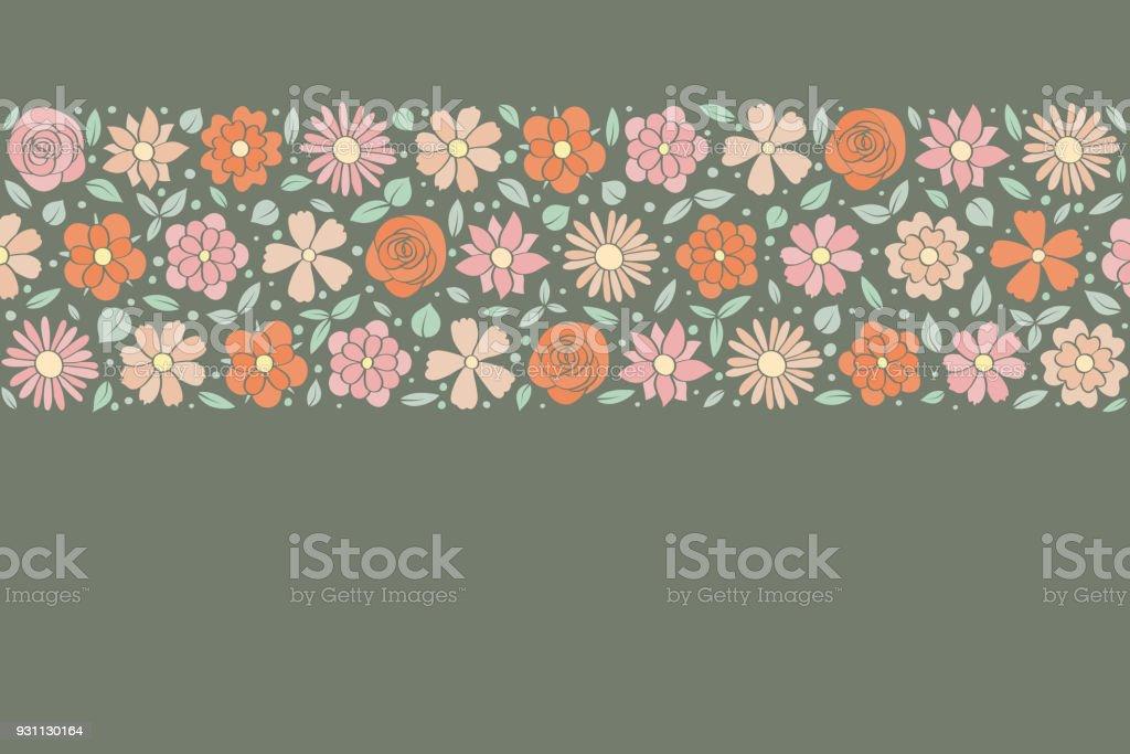 Retro tarzı çiçeklerle zarif arka plan. Anneler günü, kadının günü ve Sevgililer günü. Vektör. - Royalty-free Animasyon karakter Vector Art