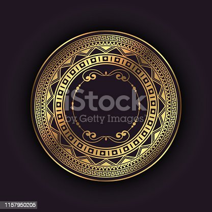 Elegant background with a gold circular frame