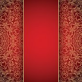 Elegant red background with gold lace ornament