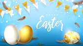 Elegant banner for Happy Easter. Beautiful background with realistic white and gold Easter eggs, garlands and chicken feathers. Holiday vector illustration.