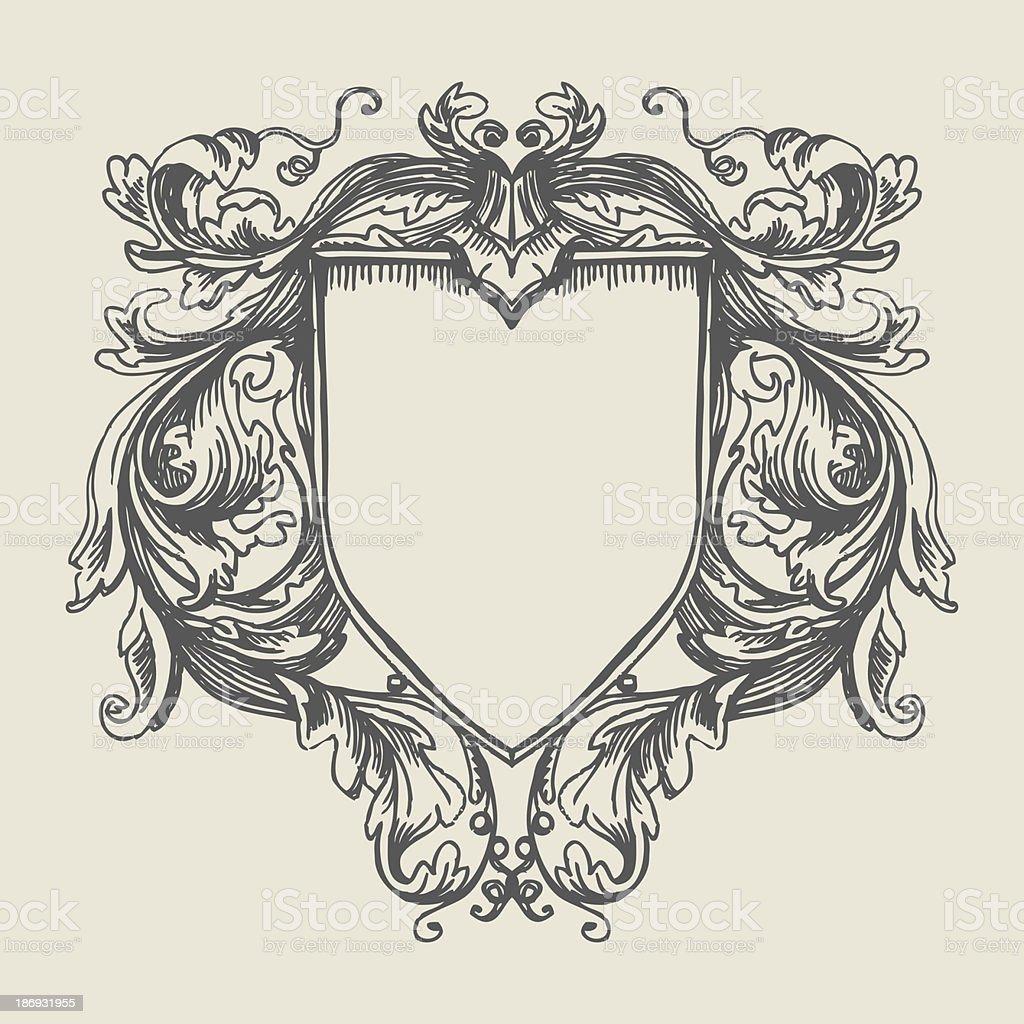Elegant baroque ornate. Coat of Arms vector art illustration