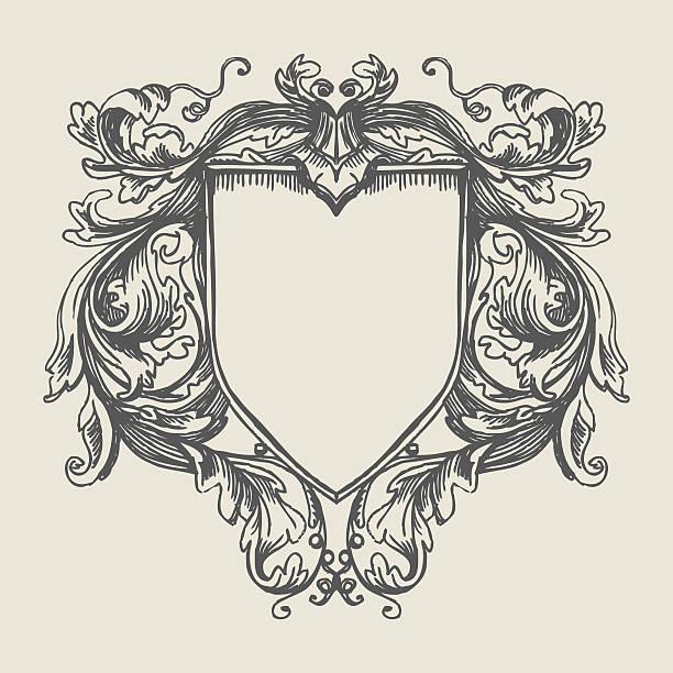 ilustraciones, imágenes clip art, dibujos animados e iconos de stock de elegante decoración de estilo barroco. escudo de armas - cultura francesa