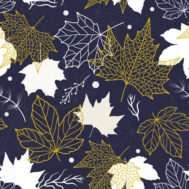 Elegant beautiful floral leaves seamless pattern, hand drawn maple leaves, creative line art background, great for fall seasonal fabric fashion prints, autumn banners, wallpapers vector surface design vector art illustration