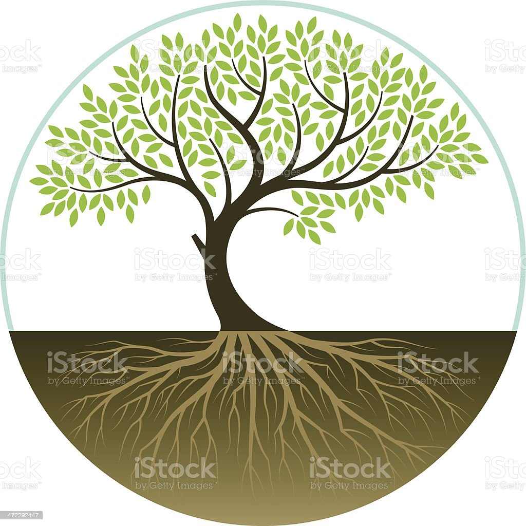 Elegant bent tree vector art illustration