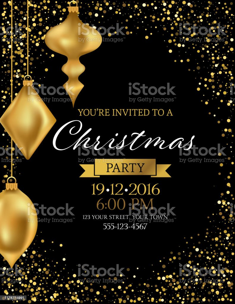 Elegant Black And Gold Christmas Invitation Template Stock Illustration -  Download Image Now - iStock