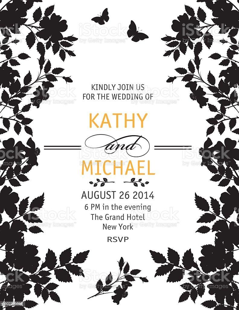 Elegant Black and White Wedding Invitation Template vector art illustration