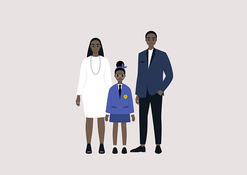 Elegant Black family wearing smart casual outfits: mother, father and their daughter