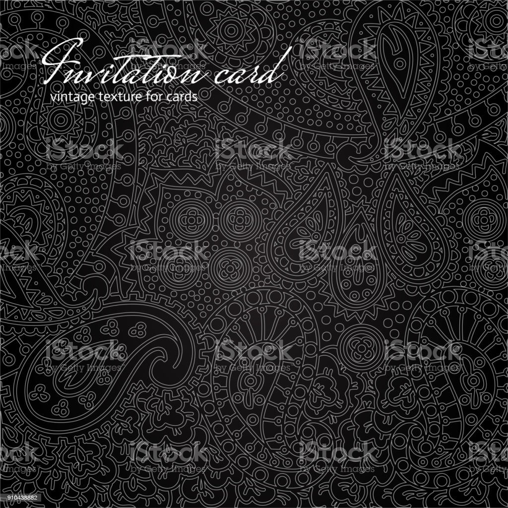 Elegant Black Floral Invitation Card Stock Illustration