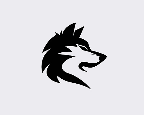 Elegant black head wolf art logo design inspiration