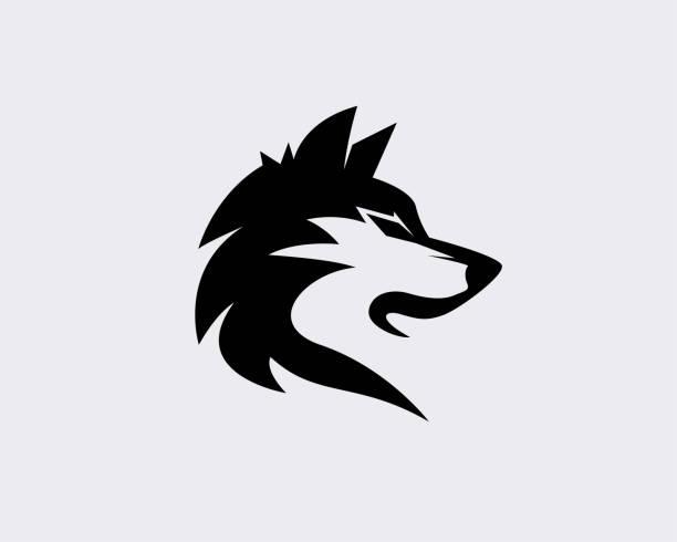 bildbanksillustrationer, clip art samt tecknat material och ikoner med elegant svart huvud varg konst logotyp design inspiration - varg