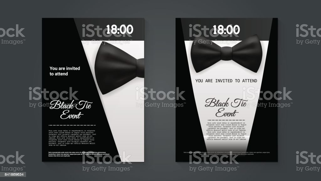 A4 Elegant Black Tie Event Invitation Template vector art illustration