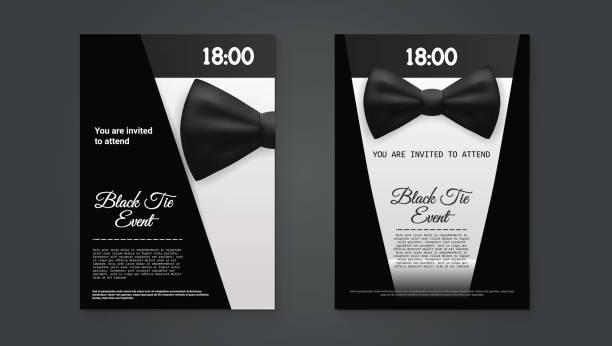 a4 elegant black tie event invitation template - black tie events stock illustrations, clip art, cartoons, & icons