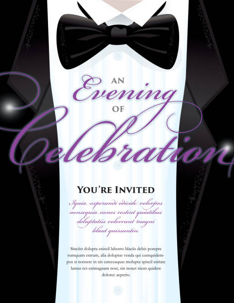Élégant Noir Tie Event invitation Modèle de conception de smoking - Illustration vectorielle