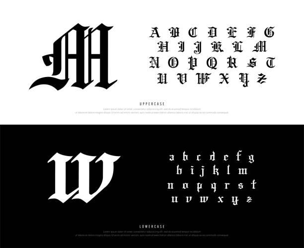 bildbanksillustrationer, clip art samt tecknat material och ikoner med eleganta blackletter gotiska alfabetet teckensnitt. typografi klassisk stil teckensnitt som för logo, affisch, inbjudan. vector illustration.eps - gotisk stil