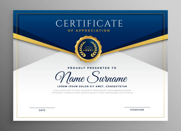 illustrazioni stock, clip art, cartoni animati e icone di tendenza di elegant blue and gold diploma certificate template - attestato