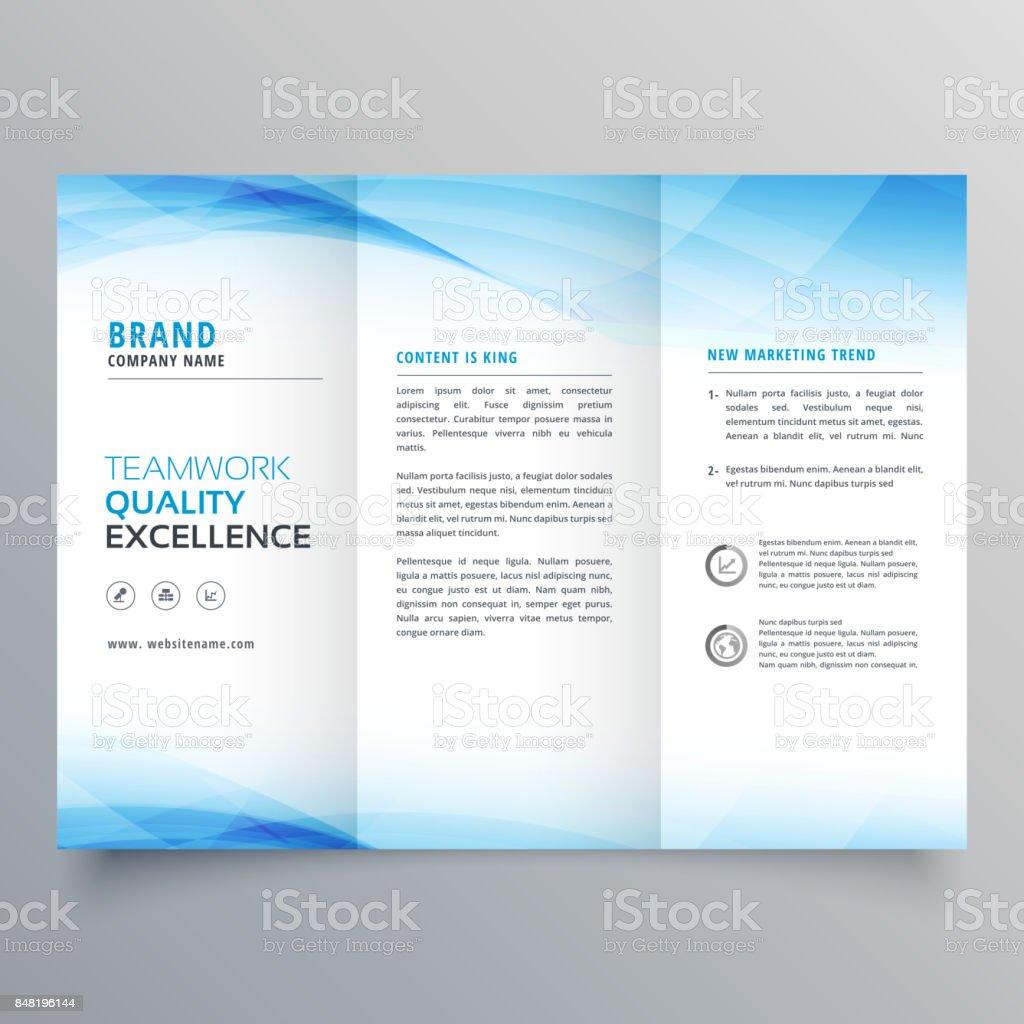 elegant blue business trifold brochure design flyer template vector art illustration