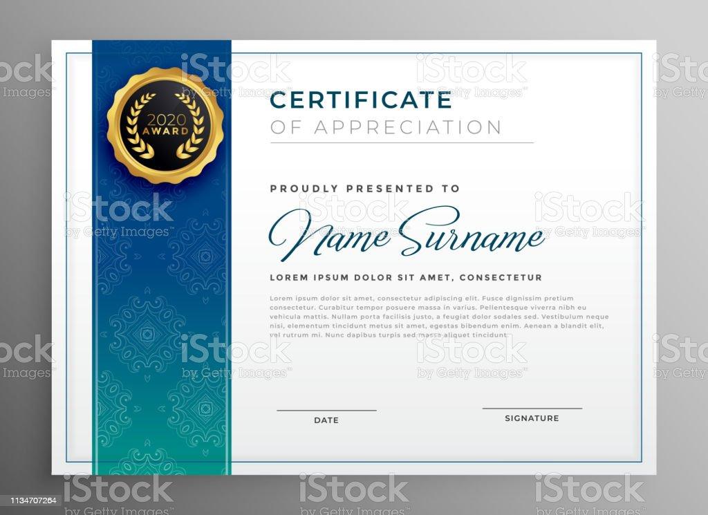 elegant blue certificate of appreciation template