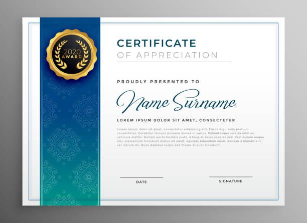 stockillustraties, clipart, cartoons en iconen met elegant blauw certificaat van waardering template - certificaat