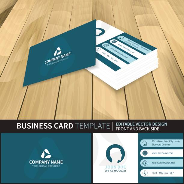elegant blue creative vector business card template vector art illustration