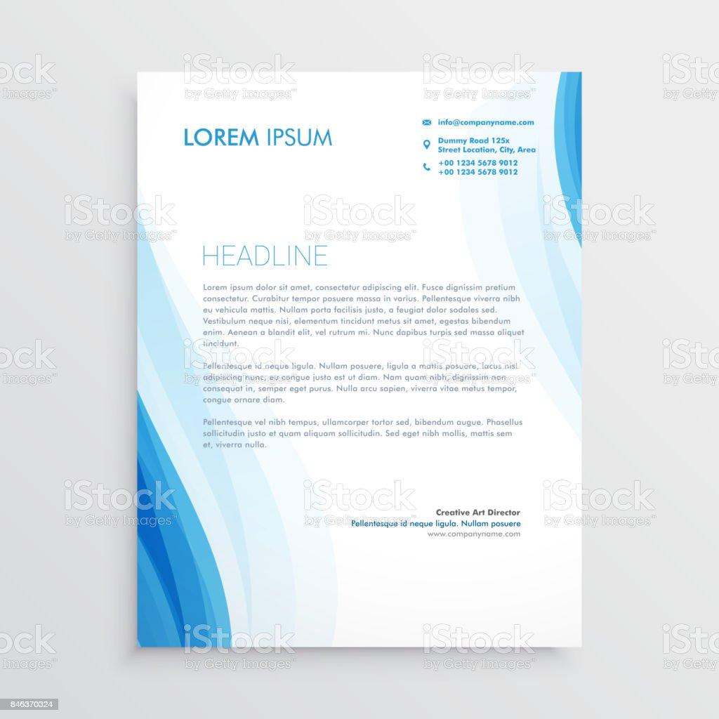 Elegante Blaue Briefkopf Designvorlage Mit Gewellte Form Stock