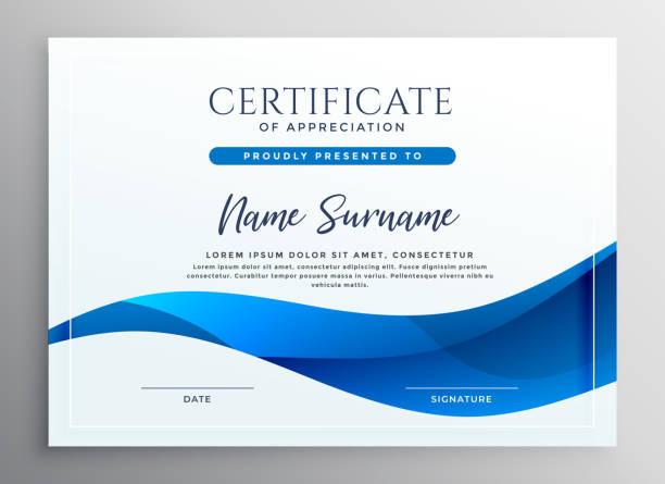bildbanksillustrationer, clip art samt tecknat material och ikoner med elegant blå kvalifikation certifikat design - diploma