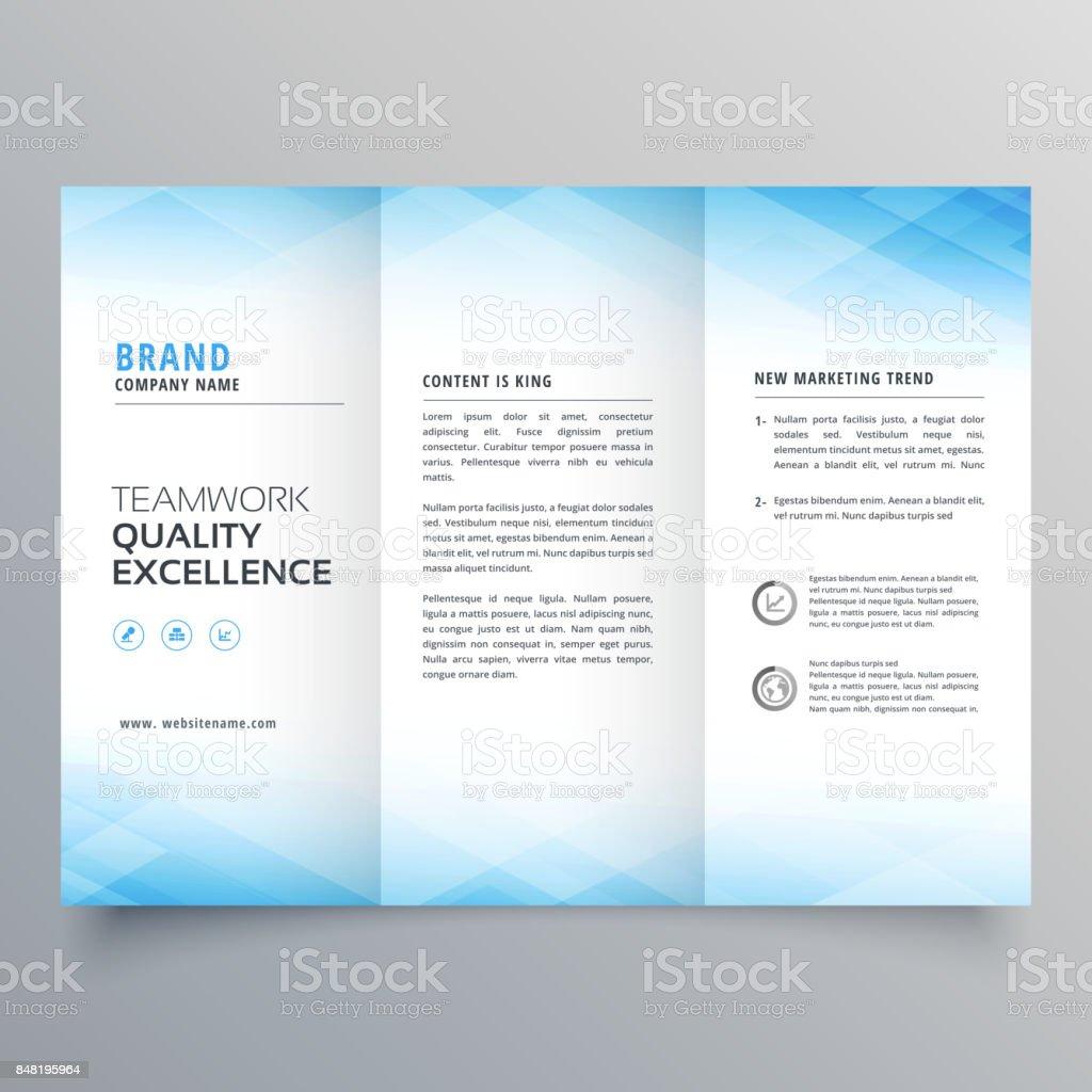 elegant blue trifold brochure flyer design template vector art illustration