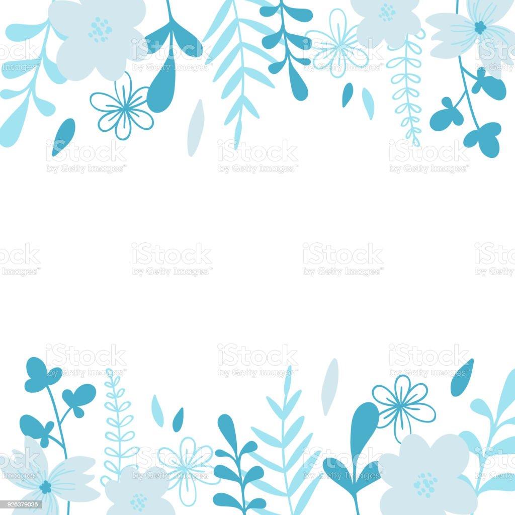Elegant Blue Vector Frame Illustration For Wedding Invitation Card ...
