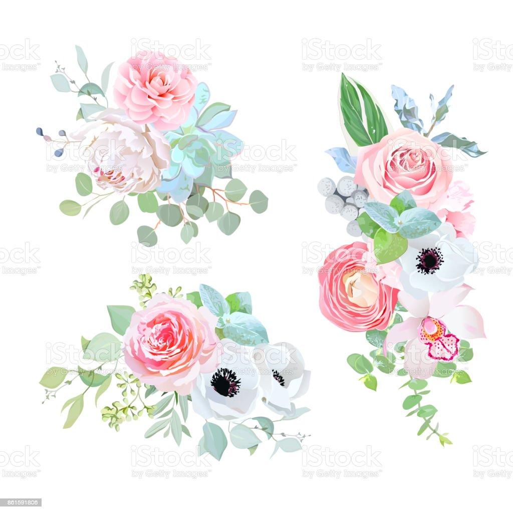 Elegant Bouquets Of Wedding Flowers Vector Design Set Royalty Free Stock Art