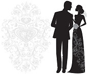 Beautiful bride and Groom Just married! Bride is wearing beautiful long lace gown. This illustration is black and white and uses no gradients. Uses one global swatch for easy color change.