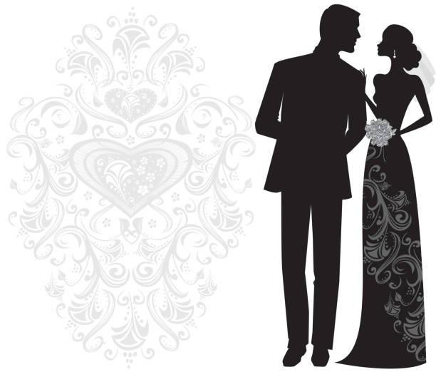 elegante braut und bräutigam silhouette just married - rosenhochzeitskleider stock-grafiken, -clipart, -cartoons und -symbole