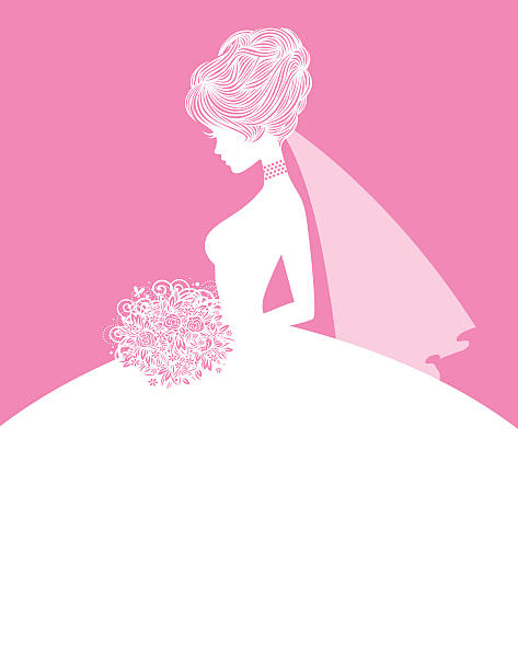 Elegant Bride SIlhouette 1 The silhouette of an elegant little bride. The pink details are easily removed if a more simple silhouette is what you require. Use her gown as a writing space for an invitation. heyheydesigns stock illustrations