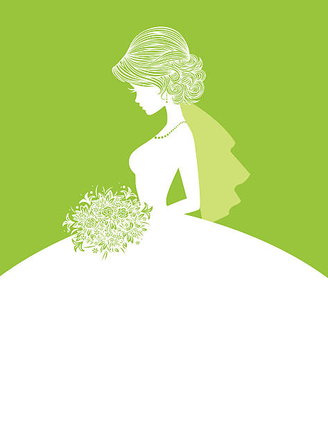 Elegant Bride SIlhouette 3 The silhouette of an elegant little bride holding her bouquet. Her green details are simple to remove if a more simple silhouette is required. Her gown makes a perfect writing space for an invitation. heyheydesigns stock illustrations