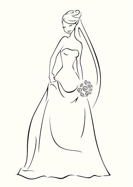 elegante braut - rosenhochzeitskleider stock-grafiken, -clipart, -cartoons und -symbole